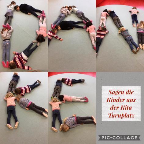 Kindergartenkinder sagen Danke